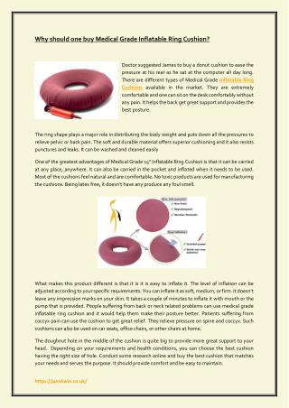 Why should one buy Medical Grade Inflatable Ring Cushion?
