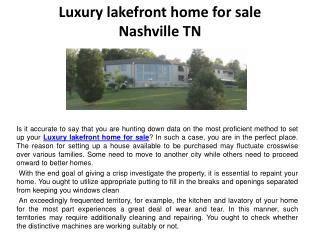 Luxury lakefront home for sale Nashville TN