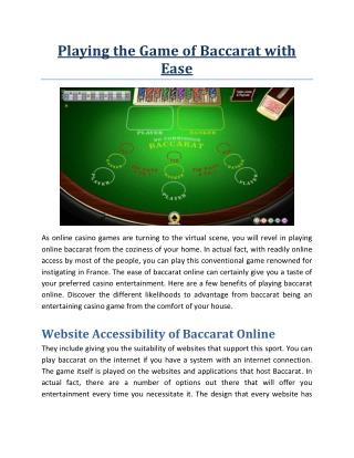 Playing the Game of Baccarat with Ease