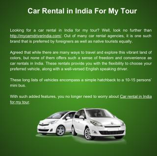 Car Rental in India For My Tour