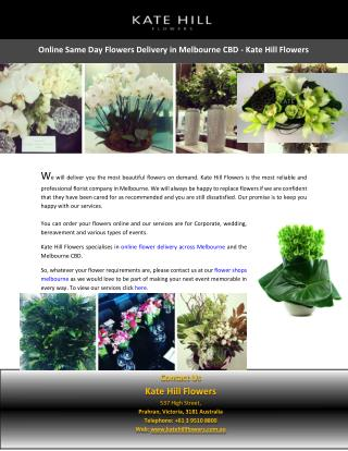 Online Same Day Flowers Delivery in Melbourne CBD - Kate Hill Flowers