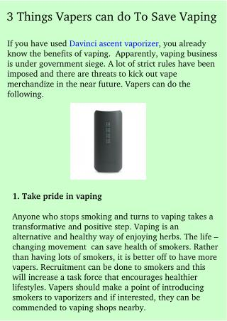 3 Things Vapers can do To Save Vaping