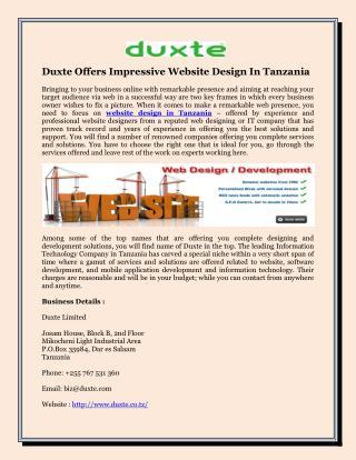 Duxte Offers Impressive Website Design In Tanzania