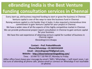 eBranding India is the Best Venture funding consultation services in Chennai