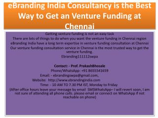 eBranding India Consultancy is the Best Way to Get an Venture Funding at Chennai