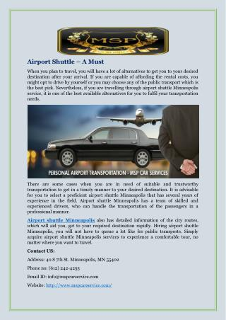 Airport Shuttle – A Must