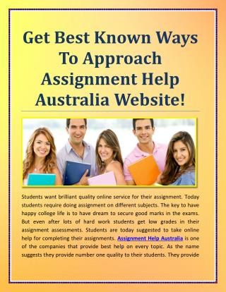 Get Best Known Ways To Approach Assignment Help Australia Website