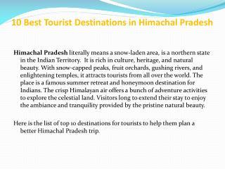 10 Best Tourist Destinations in Himachal Pradesh