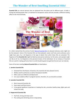 The Wonder of Best Smelling Essential Oils!