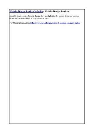Website Design Services In India - Website Design Services