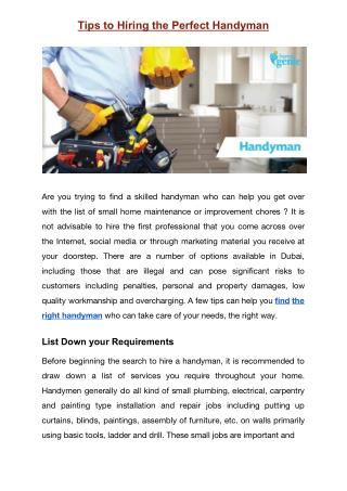 Tips to Hiring the Perfect Handyman