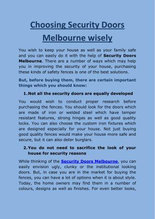 Choosing Security Doors Melbourne wisely