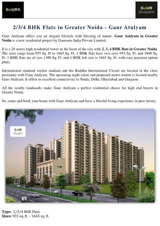 2-3-4 BHK Flats in Greater Noida - Gaur Atulyam