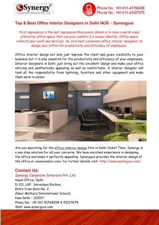 Top & Best Office Interior Designers in Delhi NCR – Synergyce