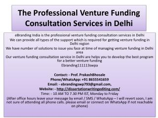 The Professional Venture Funding Consultation Services in Delhi