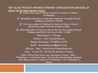 Top Class Project Finance Funding Consultation Services at Delhi from eBranding India