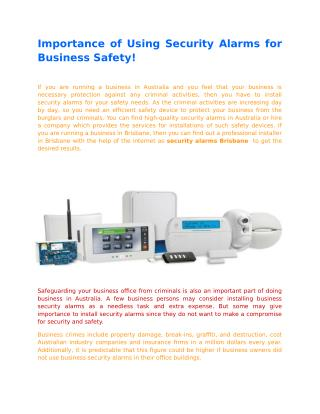 Importance of Using Security Alarms for Business Safety!