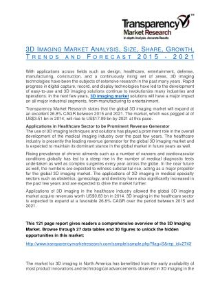 3D Imaging Market Analysis, Size, Share, Growth, Trends and Forecast 2015 - 2021