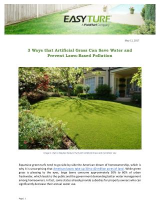 3 Ways that Artificial Grass Can Save Water and Prevent Lawn-Based Pollution