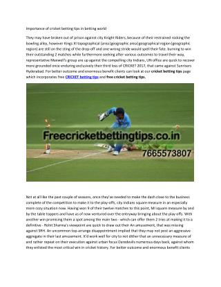 importance of cricket betting tips in betting world