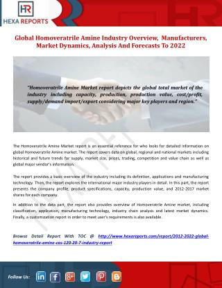 Global Homoveratrile Amine Industry Overview,  Manufacturers, Market Dynamics, Analysis And Forecasts To 2022