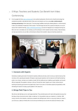 5 Ways Teachers and Students Can Benefit from Video