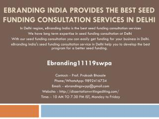 eBranding India Provides the Best Seed Funding Consultation Services In Delhi