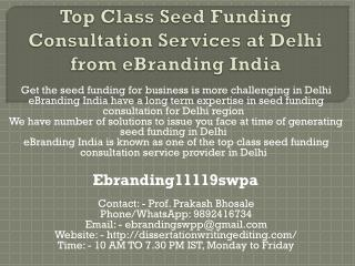 Top Class Seed Funding Consultation Services at Delhi from eBranding India