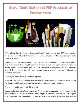 Major Contribution of FRP Products to Environment