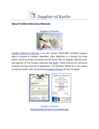Supplier of Kaolin-Best Price