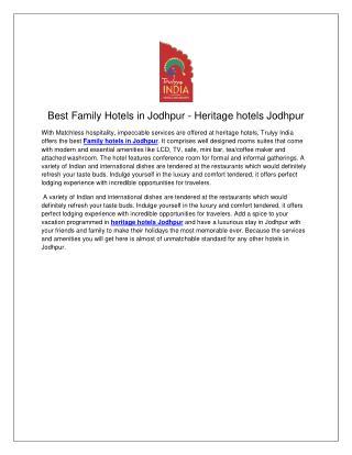 family hotels in Jodhpur