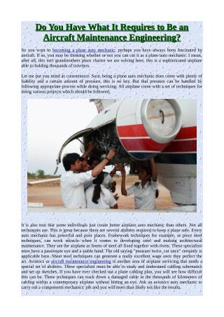 Do You Have What It Requires to Be an Aircraft Maintenance Engineering?