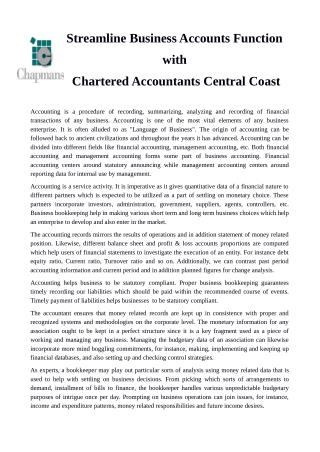 Streamline Business Accounts Function with Chartered Accountants Central Coast