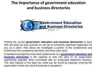 The importance of government education and business directories