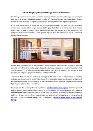Choose High Quality and Energy Efficient Windows