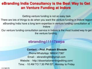 83 eBranding India Consultancy is the Best Way to Get an Venture Funding at Indore