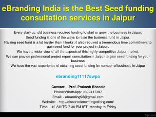 86 eBranding India Provides the Best Seed Funding Consultation Services In Jaipur