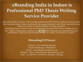 eBranding India in Indore is Professional PhD Thesis Writing Service Provider