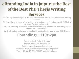 eBranding India in Jaipur is the Best of the Best PhD Thesis Writing Services