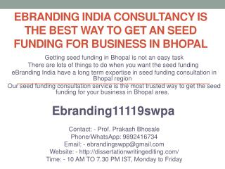 eBranding India Consultancy is the Best Way to Get an Seed Funding for Business in Bhopal