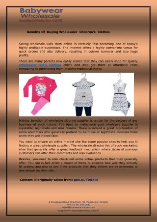 Benefits Of  Buying Wholesaler  Children's  Clothes