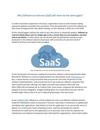 Why Software-as-a-Service (SaaS) will never be the same again?