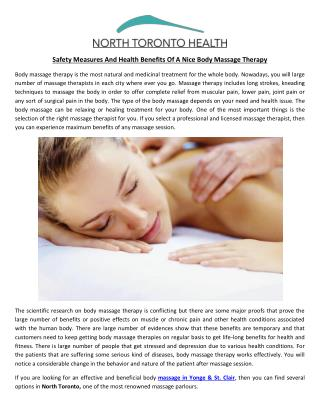 Safety Measures And Health Benefits Of A Nice Body Massage Therapy