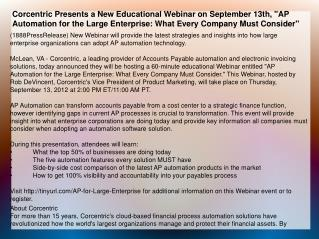 Corcentric Presents a New Educational Webinar on September 1