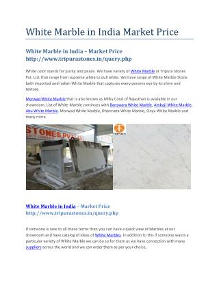White Marble in India – Market Price