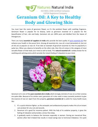 Geranium Oil: A Key to Healthy Body and Glowing Skin