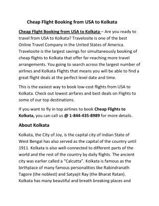 Cheap Flight Booking from USA to Kolkata