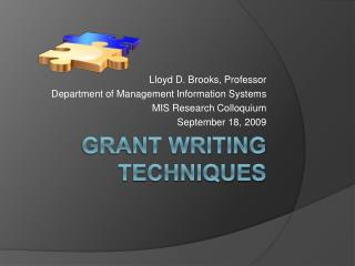 Grant Writing Techniques