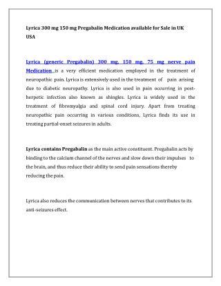 Buy Lyrica 300 mg Cheap Pregabalin Online in UK at OnlineDrugPills