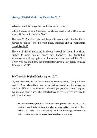 Strategic Digital Marketing Trends for 2017